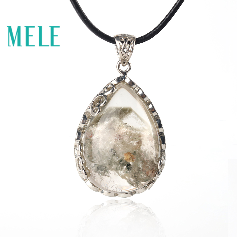 MELE natural green ghost garden crystal pendant for women and man,37X25mm water drop shape peculiar pattern fashion jewelryMELE natural green ghost garden crystal pendant for women and man,37X25mm water drop shape peculiar pattern fashion jewelry