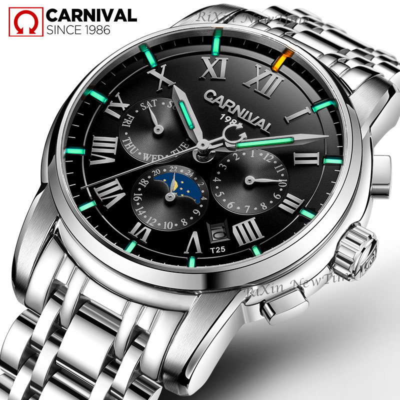 High end Tritium Self Luminous automatic watch men Top brand Carnival Mechanical Watches with Moon Phase Week Calendar display high end mechanical watches carnival multifunction automatic watch with 24hours calendar waterproof luminous fashion watch men