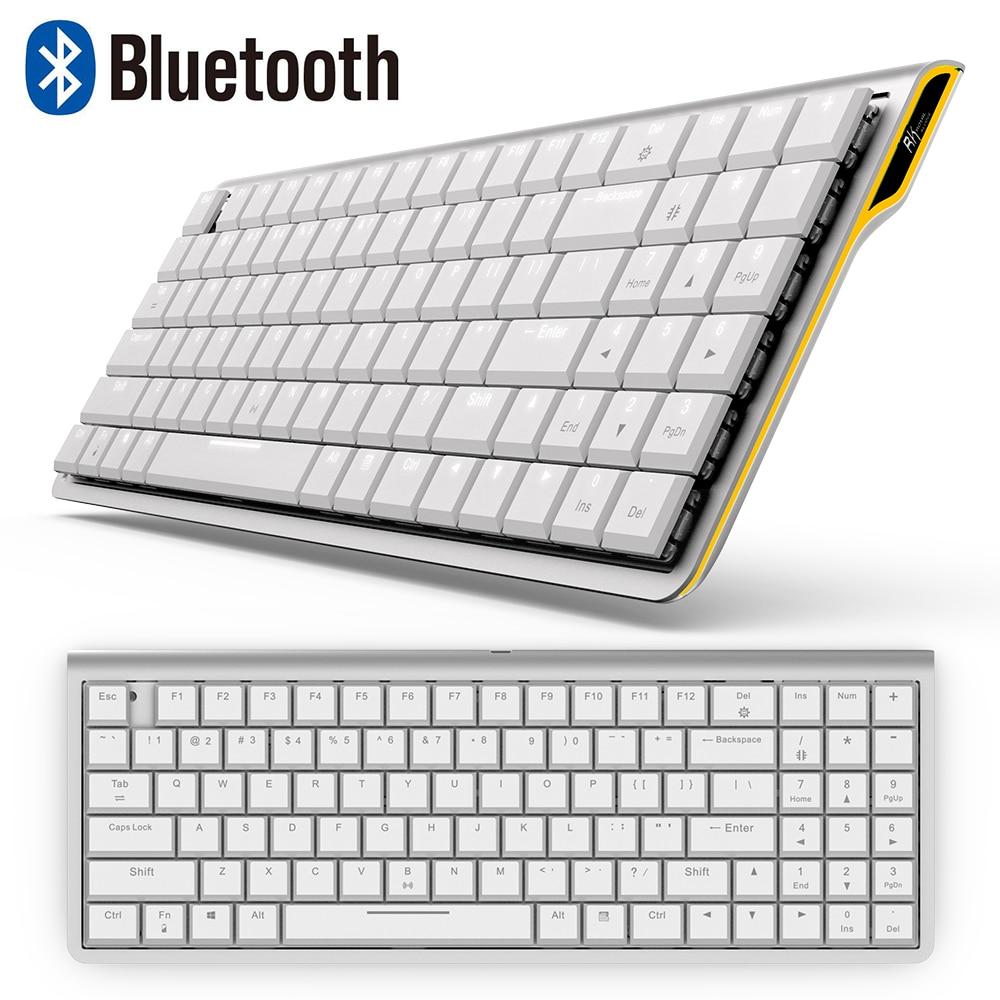 RK929 перезаряжаемая 96 клавиш белая LED подсветка Bluetooth механическая клавиатура геймер мини эргономичный Металл для телефона ПК ноутбук планше