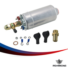 PQY RACING- External Fuel Pump 0580 254 044  FUEL PUMP WITH BANJO FITTING KIT HOSE ADAPTOR UNION 8MM OUTLET TAIL PQY-FPB044R