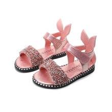 Летние блестящие сандалии для девочек высокого качества; Детские