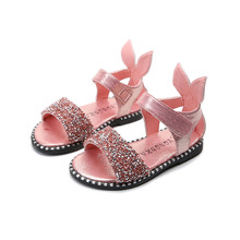 Купить с кэшбэком High quality Summer Bling Girl Sandal Children Sandal Fashion soft-soled cartoon cool Kids Shoes pink silver black