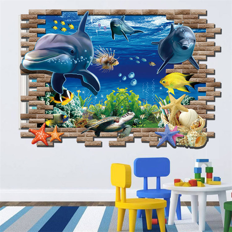 Creative underwater world 3d wall stickers for kids rooms for 3d garden decoration