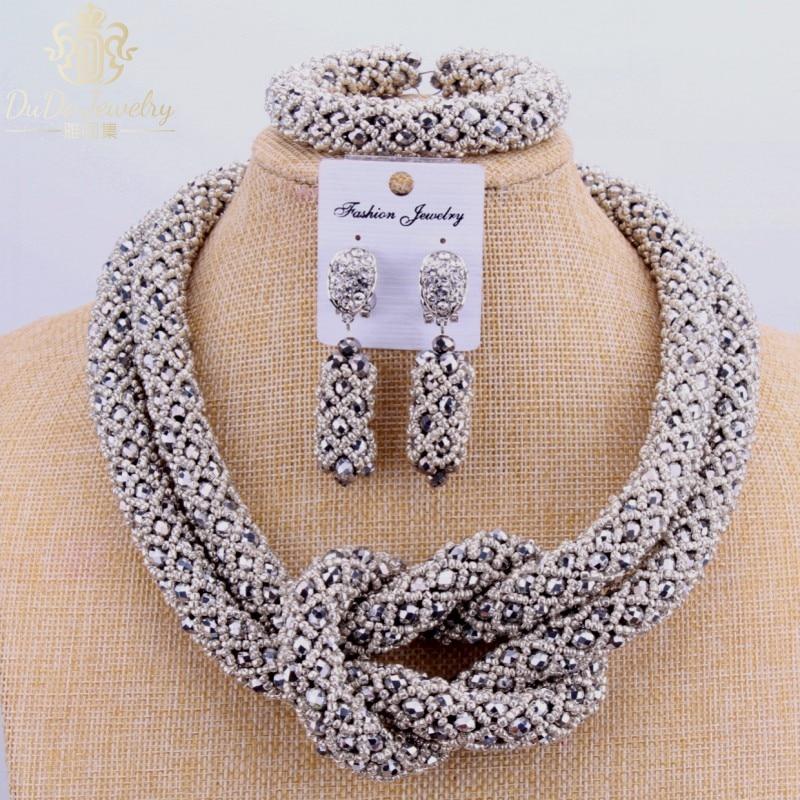 2017 Медный Изысканный Комплект Ювелирных Изделий Серебряные Бусы Дубай Колье Ожерелье 2 Слоя Нигерийские Свадебные Африканские Бусы Ювелирные Наборы Мода