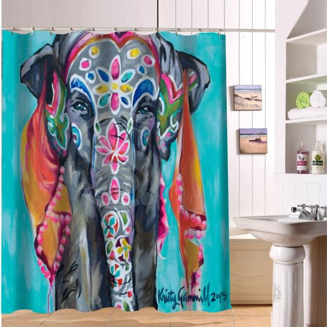 custom colorful elephant print fabric modern shower curtain eco friendly waterproof bathroom curtain with hole - Colorful Shower Curtains