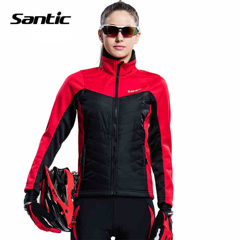 ФОТО Women Santic 2017 Winter Thermal Fleece Cycling Jacket Windproof MTB Road Bike Bicycle Jacket Sport Cycle Jacket Clothing S-2XL