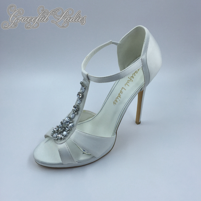 Elegant White Satin Women Sandals T strap Rhinestones Open Toe Ladies Shoes Sandal 5inc High Heels