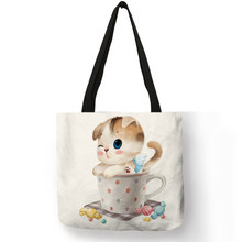 Cute Design Handbags for Girls Funny Cup Baby Cat Animal Prints Tote Bag Eco Linen Practical Shopping School Ladies Shoulder Bag(China)