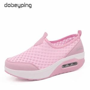 Image 4 - Женские сетчатые кроссовки dobeyping, дышащие кроссовки на плоской платформе, без застежки, для весны и лета, 2018