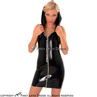 Black Sexy Sleeveless Mini Latex Dress With Hoodies And Handle Zipper At Front Rubber Jacket Coat Robe YF 0096