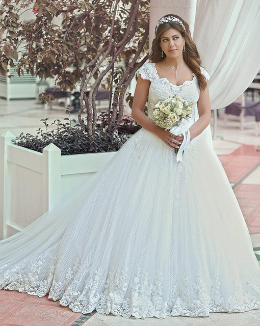 2016 Ball Gown Wedding Dresses Plus Size Sweetheart Cap Sleeves Lace ...