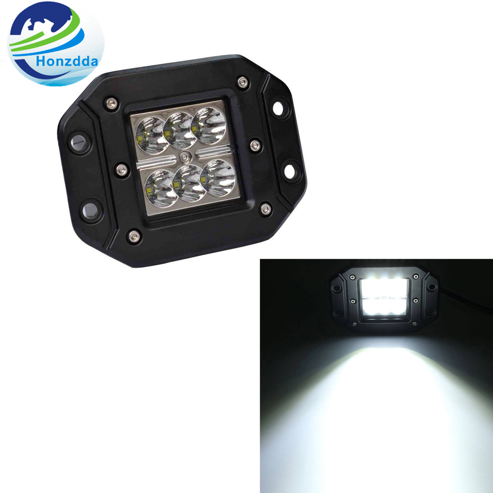 Honzdda 1PC Flush Mount Led Car Work Light 18w Spot Beam Waterproof IP67  Offroad Truck Boat Atv Utv12V 24V Led Fog Light