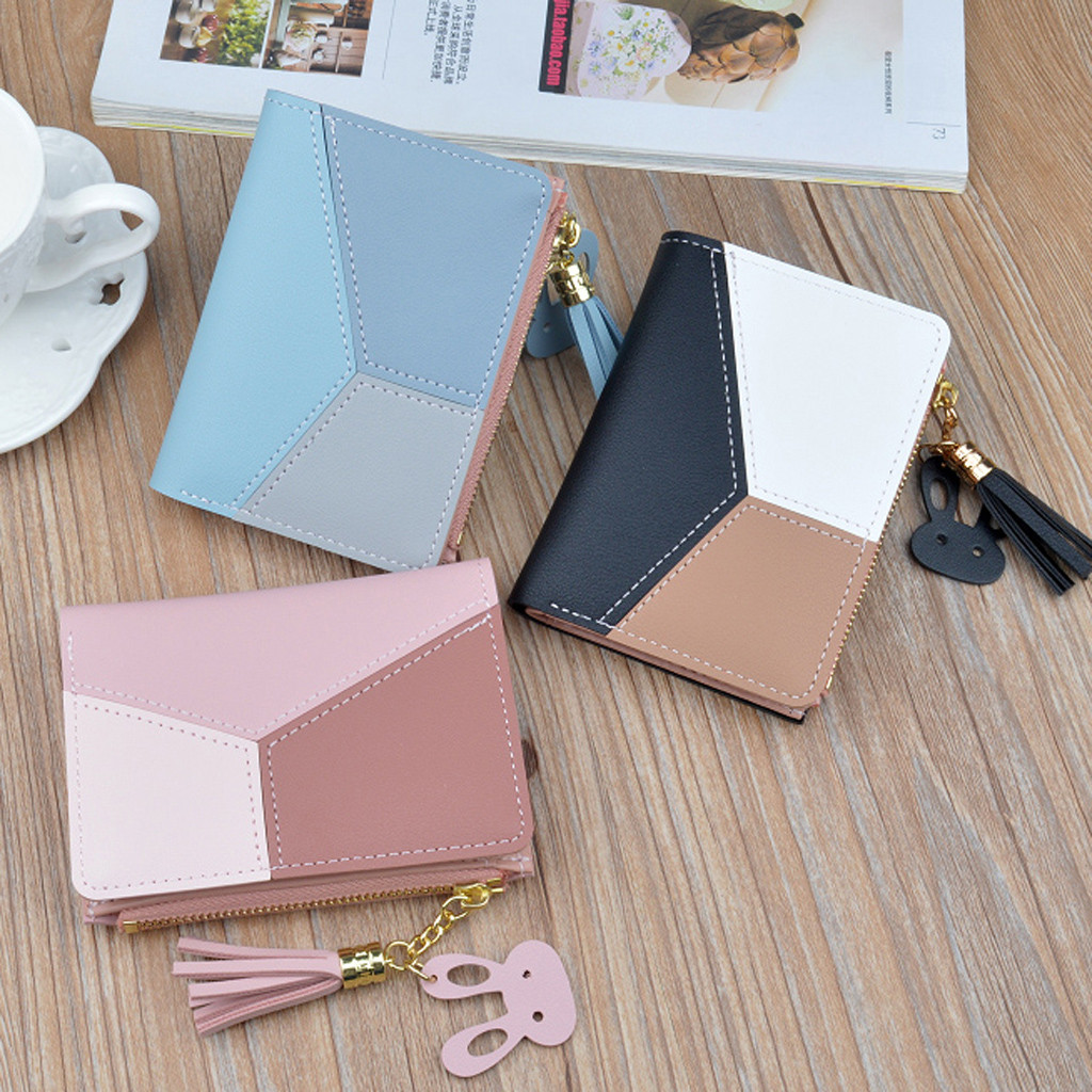 New Arrival Wallet Short Women Wallets Zipper Purse Patchwork Panelled Wallets Trendy Coin Purse Card Holder Leather