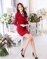 Novo 2016 Outono Senhoras Formais De Escritório Salão de Beleza Uniforme Design as mulheres Saia Ternos Conjuntos Blazer OL Desgaste do Trabalho Uniforme Vermelho estilo
