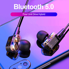 ALWUP S10 Double Dynamic Hybrid Bluetooth Earphone Wireless Headphones Four Unit Drive Deep Bass for Phone with mic 5.0