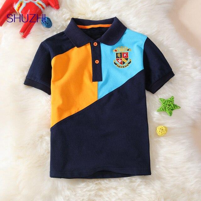 Shuzhi meninos polo camisas patchwork crianças encabeça meninos camisa dos miúdos  t-shirt de lapela 76caf474e901e