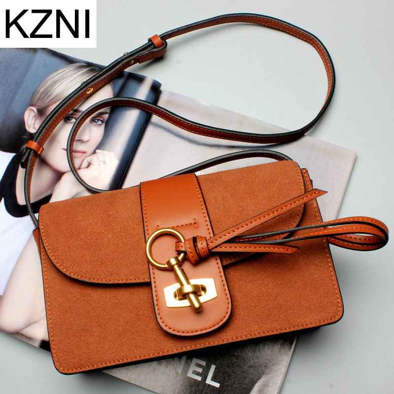 KZNI Genuine Leather Purse Crossbody Shoulder Women Bag Clutch Female Handbags Sac a Main Femme De Marque L121804 kzni tote bag genuine leather bag crossbody bags for women shoulder strap bag sac a main femme de marque luxe cuir 2017 l042003