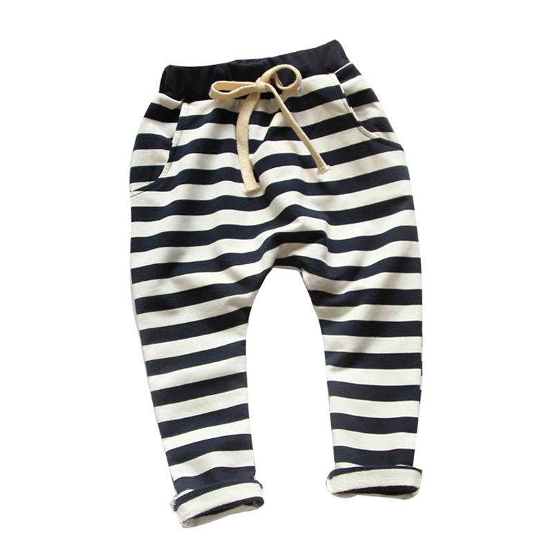 2017 spring&Autumn new fashion 100% cotton Stripe boys pants girls harem pants kids for 1-10 year children pants baby pants drawstring contrast stripe jogger pants
