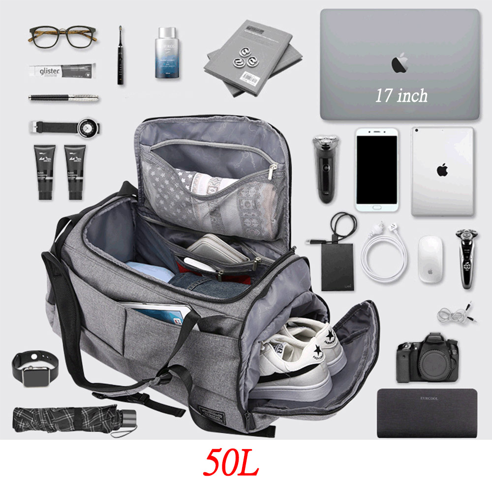 50L Multi-function Layered Gym Bag For Man Women Shoes Compartment Carry Handbag Shoulder Bags Travel Backpack