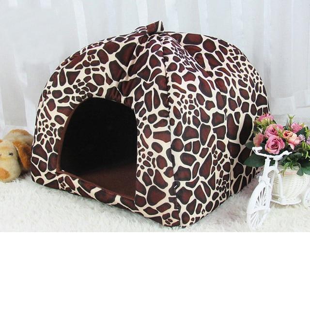 Di alta Qualità pet casa del cane cane di grandi dimensioni letto Fragola Della Stampa Del Leopardo Gatto tenda Del Coniglio Caldo Cuscino Basket ZL03