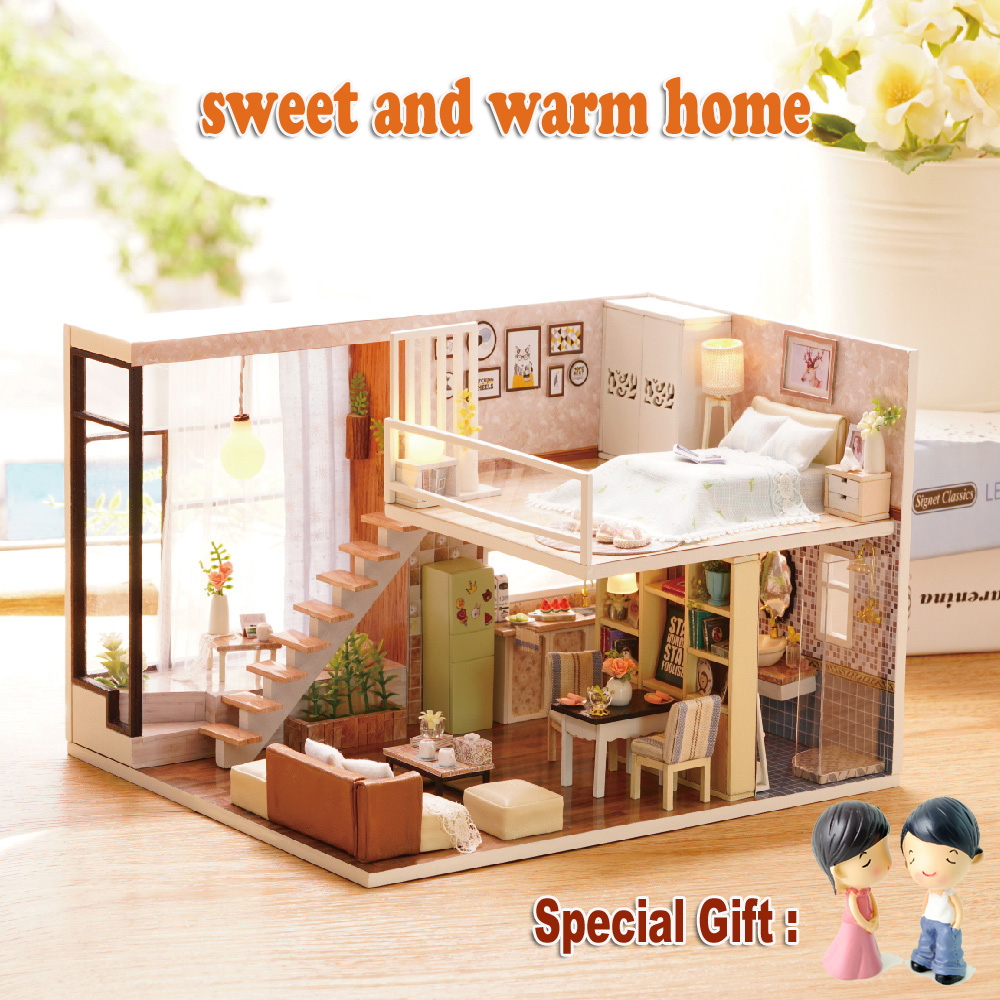 My First Room Toddler 3 Piece Room In A Box: 2017 New Diy Doll House Miniature Wooden Toy House Cute