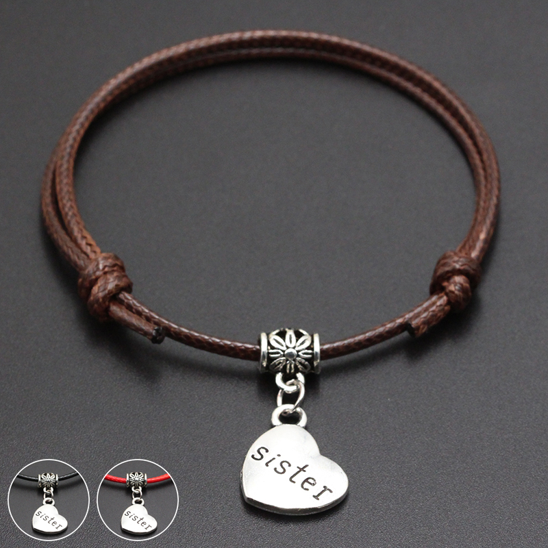 2020 New Sister Heart Pendant Red Thread String Bracelet Lucky Black Coffee Handmade Rope Bracelet for Women Men Jewelry
