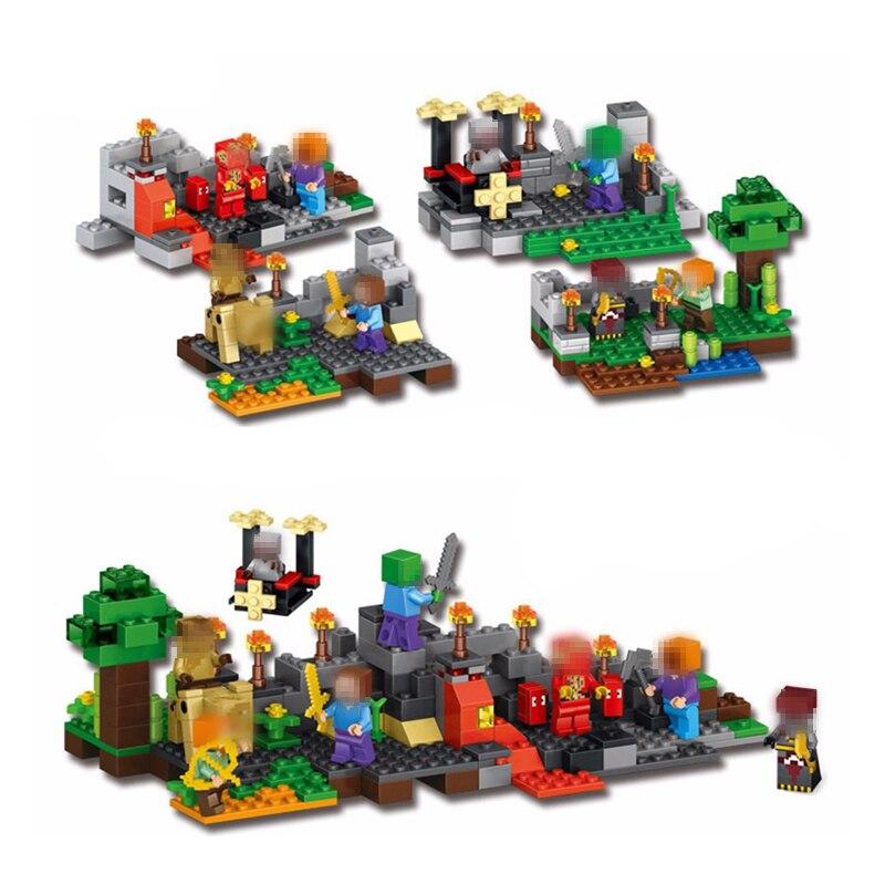 Совместимость с lego модели Строительство комплекты 79255 372 шт. 4 компл. мой мир Мастер Король гироскопа рок рыцарь строительные блоки игрушки и ...