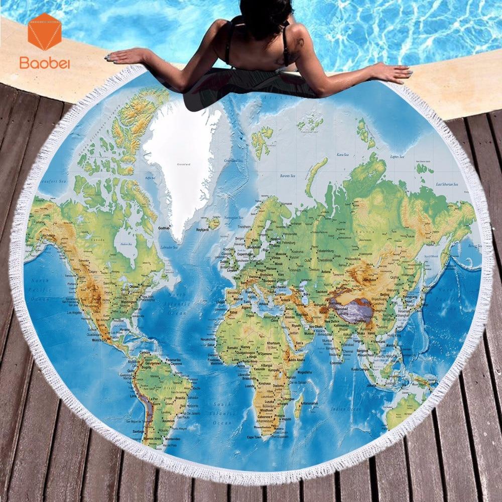 Hot sale world map  Microfiber soft Towel Round Beach With Tassel Yoga Mat Blanket Printed 150cm Bath Summer YJ53