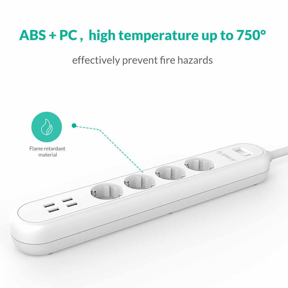 ORICO inteligentny USB gniazdo listwy zasilającej ue wtyczka przełącznik przeciążeniowy zabezpieczenie przeciwprzepięciowe 4 z ładowarką USB 4 Ports-1.5M przewód zasilający