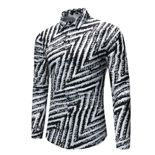 Brand 2018 Fashion Male Shirt Long-Sleeves Tops Simple Line Pattern Mens Dress Shirts Slim Men Shirt M-XXXL
