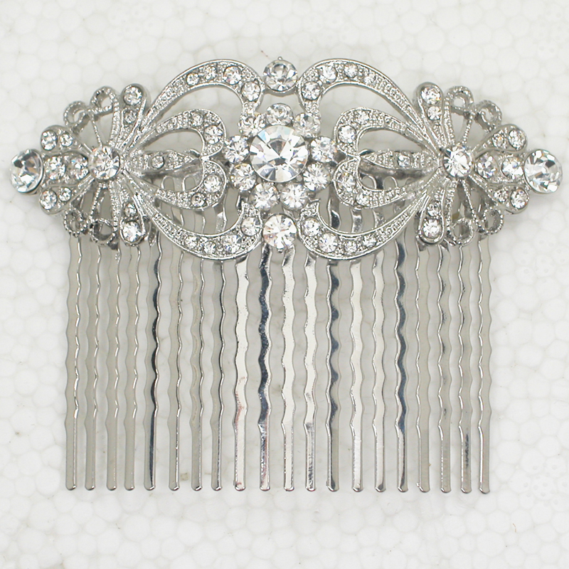 Wholesale 12piece lot Clear Crystal Rhinestone hair Comb L045 A