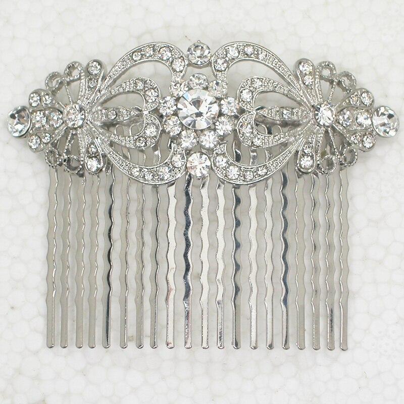 Hurtownie 12 sztuk/partia stras z przezroczystych kryształków grzebień do włosów L045 w w Biżuteria do włosów od Biżuteria i akcesoria na  Grupa 1