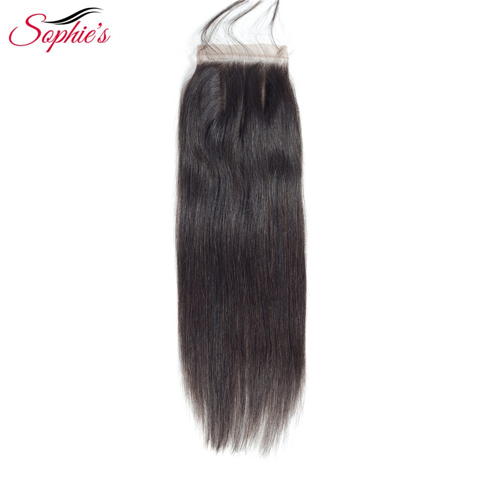 Sophies Hair 4*4 Closure Extensions Brazilian Human Straight Non-Remy Hair Weaves Natural Color