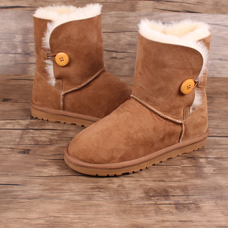 2018 Winter New Sheepskin Fur Big Children Snow Boots Non-slip Warm Wool Short Boots Fashion Women's Round Head Cotton Boots winter children s boots fashion ankle belt rubber bottom equal anti slip boy girls snow boots warm round head snow boots