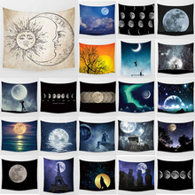 Beauty night moon  landscape large tapestry Wall Hanging Printed home decoration tapestry living room tapestry night sky printed wall hanging tapestry