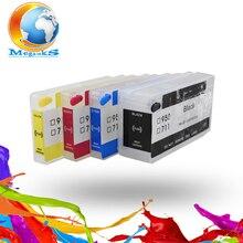 Бесплатная Доставка 4 Шт./компл. Для HP 711 Многоразового Картридж Совместимый Для Hp DesignJet T120 T520 Принтера С Постоянным Чипа