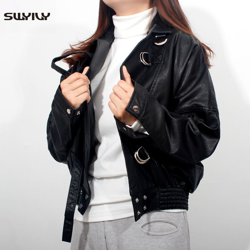 SWYIVY Womens Motorcycle Clothing Faux   Leather   Jackets 2019 Spring New Female Slim Short Jacket Casual Woman   Leather   Clothing