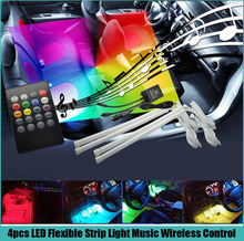 Free shipping 4pcs 7colors 12V Car Stickers Sound music Glow LED Interior Decorative Atmosphere Light Wireless Control RGB Strip