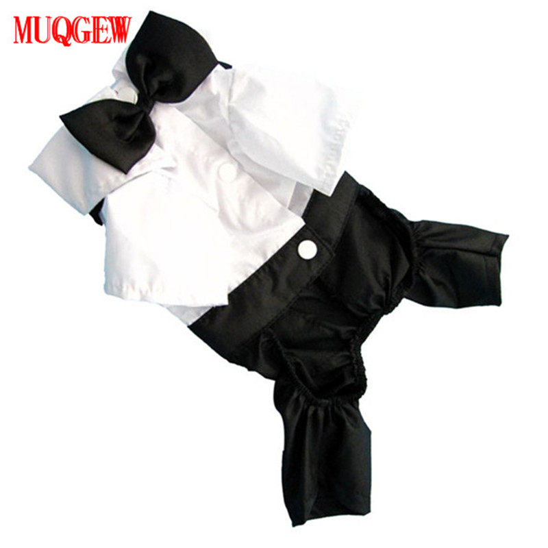 MUQGEW Fashion Pet Cat Puppy Dog Tuxedo Suit Clothes Jumpsuit Black and white color with a bow tie decoration Cute costumes