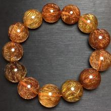 Certificate 17mm Natural Copper Rutilated Quartz Bracelet Cat Eye Crystal Round Beads Wealthy Stone Women Man Bracelet AAAAA цена и фото