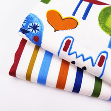 Childish Style Cotton Twill Fabric Cartoon Animal/Stripe Pinted Patchwork Quilting Material Body-Friendly Soft DIY