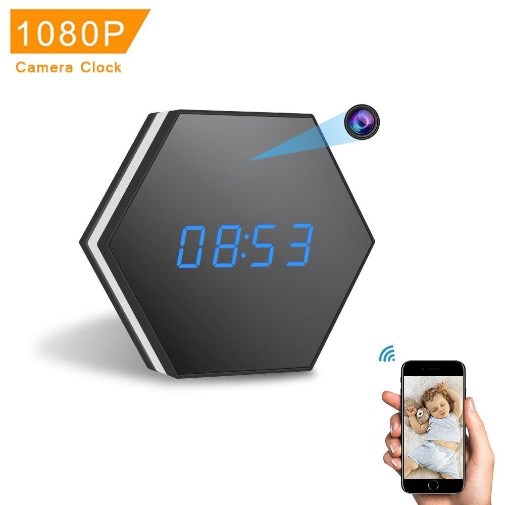 Mini Caméra Horloge HD 1080 P WiFi Smart Miroir Horloge avec Nuit Vision Deux-Way Audio Détection de Mouvement Coloré LED lumière