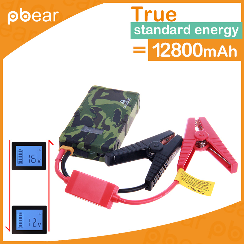 Pbear Portable 12V High Capacity 12800mAh gasoline Car Starter Jump Battery Emergency Charger Power Bank with LED SOS Lights 2016 high capacity gasoline diesel car jump starte 12v emergency battery charger 4usb portable power bank sos lights free ship