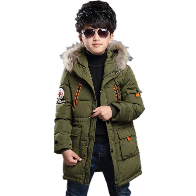 Winter children 2016 boys long coat Hooded Coat Jacket children's leisure warm thick winter