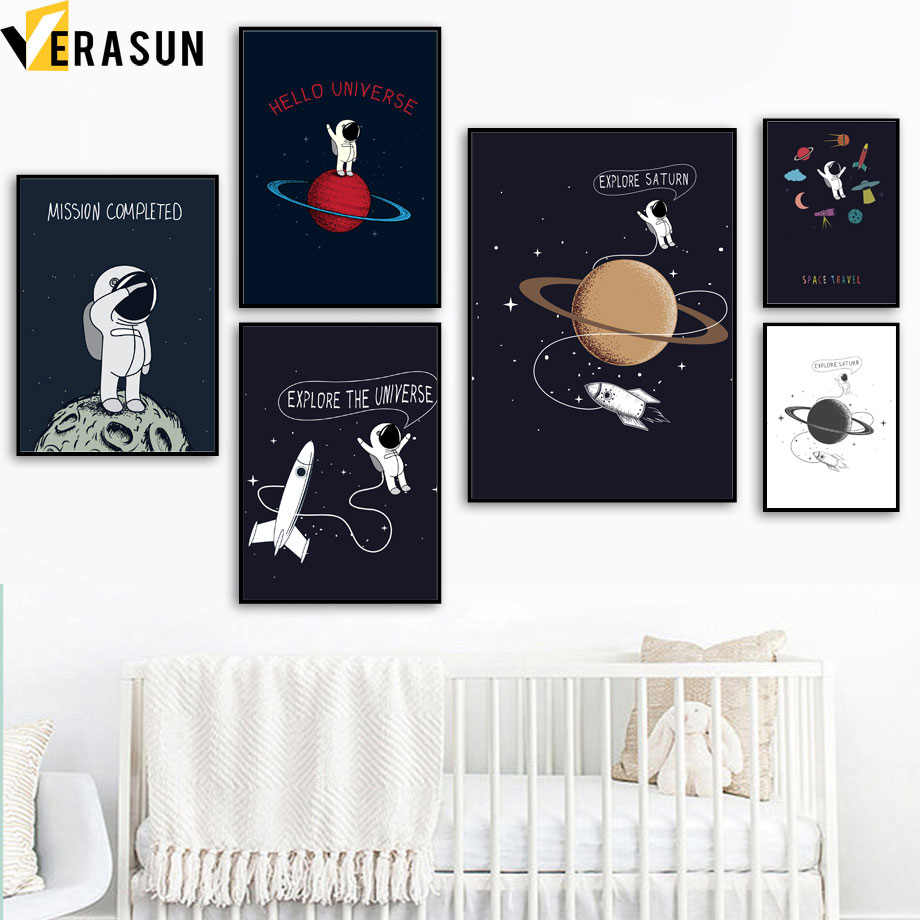 Cartoon Planet Star Rocket Spaceman Space Travel Wall Art Canvas Painting Nordic Posters And Prints Wall Picture Kids Room Decor