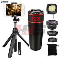 12X Zoom Telephoto Lens Fisheye Wide Angle Macro Lentes Monopod Tripod Shutter Fill Light For Xiaomi