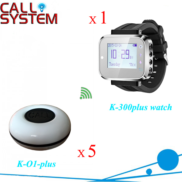 433.92mhz Restaurant ring bell system 1 wrist watch receiver with 5 table buzzer for catering equipment restaurant call bell pager system 4pcs k 300plus wrist watch receiver and 20pcs table buzzer button with single key
