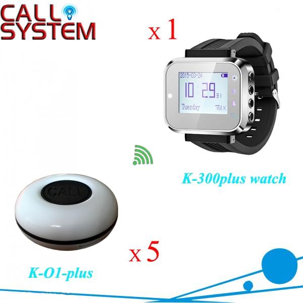 Système de cloche d'anneau de Restaurant de 433.92 mhz 1 récepteur de montre-bracelet avec la sonnerie de 5 tables pour l'équipement de restauration
