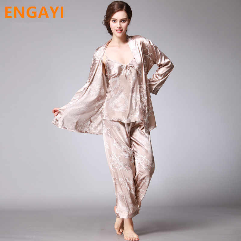 ef513de730846 3 Pcs Autumn Women Robes Bathrobes Sets Sexy Lace Silk Satin Pajamas  Pyjamas Pijamas Sets Nightgown