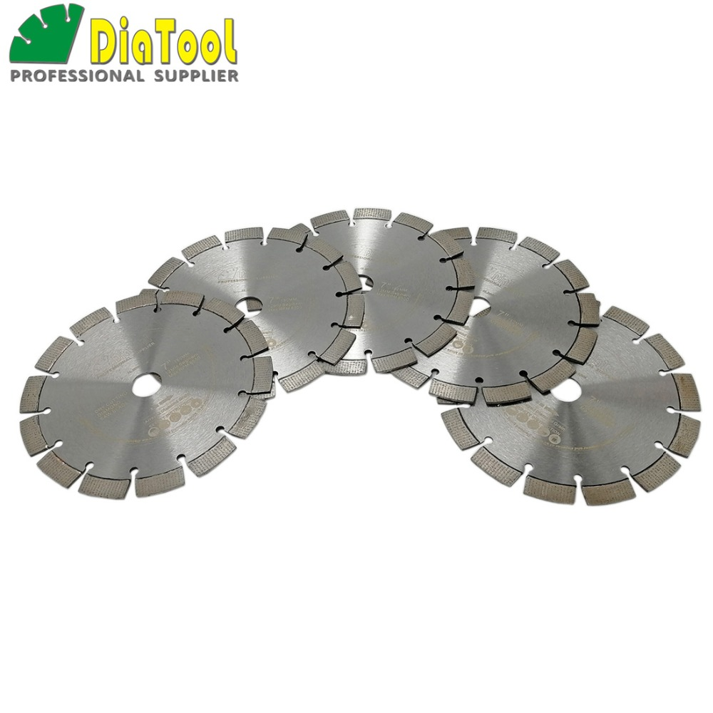 DIATOOL 5ps 7inch Segmented Laser Welded Arrayed Diamond Saw Blade for reinforced concrete Cutting Disc hard granite brick wheel цены онлайн